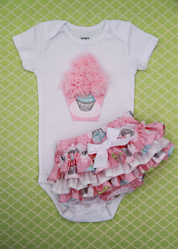 Cupcake Onesie and Matching Ruffle Bottom Bloomers (long & short sleeves available)