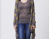 End of summer S A L E -Crazy long sleeves wrap cardigan grey and army green stripes