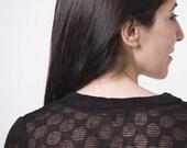 50% off sale-  Black V neckline squares knitted women blouse