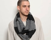 Infinity scarf, men scarf, dark gray, loop scarf, circle knit scarf, knitted scarf, striped scarf