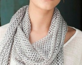 Scarf for women, Grey Silver  knitted women scarf, lace scarf