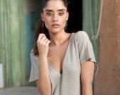 Women summer top ,Open women neck v blouse,  gray women shirt