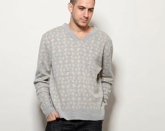 Sweatshirt, mens sweater, winter fashion Mens knitted jacquard sweater, grey, cream, S M L