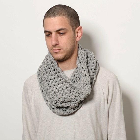 Byt 2 get 1 free sale- 50% OFF SALE- Men infinity loop grey scarf- father day gift, for dad