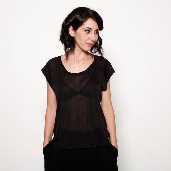 End of summer S A L E - Black women viscose Tshirt, women  sheer blouse
