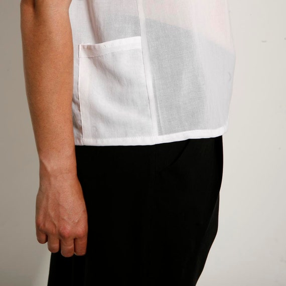 Holiday SALE  White shirt,  White sheer women cotton blouse, spring fashion for women