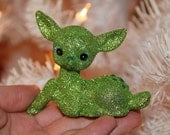 Handmade Green Glitter Deer Holiday Christmas Decoration