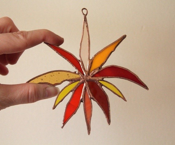 Handmade Stained Glass Warm Sunburst Orchid