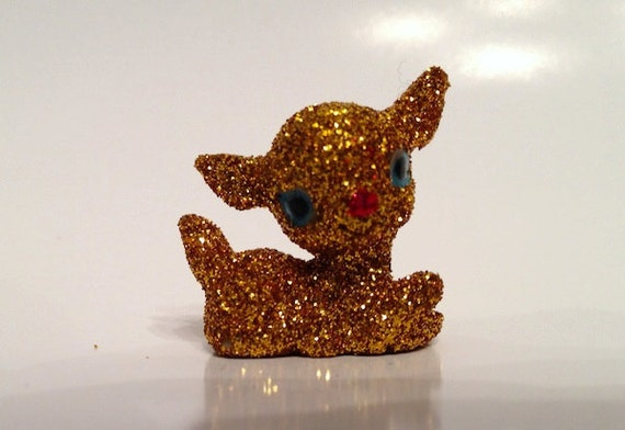 Handmade Gold Glitter Deer Holiday Decoration