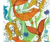 Pisces mermaids 4x6 postcard