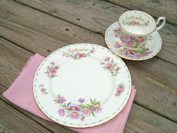 Vintage Royal Albert September Teacup, Saucer and Plate, Michaelmas Daisy 1970 Flower of the Month Series made in England