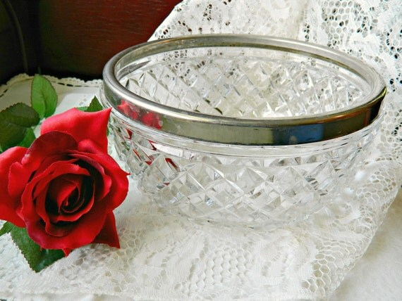 Vintage Crystal Cut Glass Bowl with Silver Rim from England