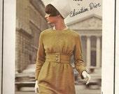 Vintage 1960s VOGUE Paris Original 1558 Christian DIOR Dress Pattern CLASSIC