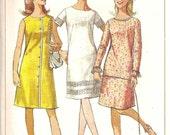 Vintage 1966 Simplicity DRESS Pattern 6466 MOD One Piece A line Sub Teen 10s Petite
