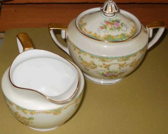 Noritake Vintage 1930s ATHENA Various Pieces Floral China Dinnerware Creamer and Sugar Bowl other pieces available