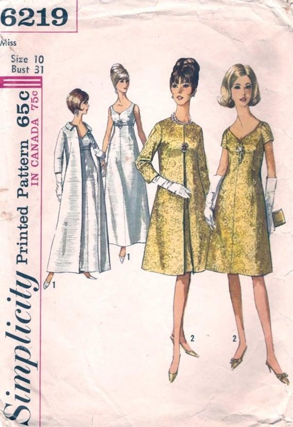 Vintage 1965 Simplicity Pattern 6219 COAT & DRESS Gown Audrey Hepburn