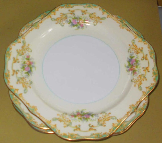 Noritake Vintage 1930s ATHENA Floral China Dinnerware Square Salad Plate  other pieces available