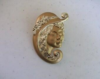 Torino 2 Tone Gold Lady Woman Pin Signed Jewelry //