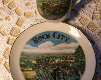 Lovers Leap Lookout Mountain Cup & Saucer Demitasse Rock City //