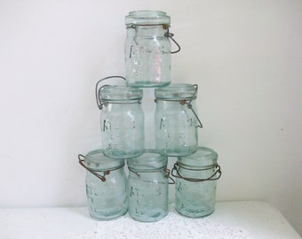 6 Old Aqua Blue Atlas Pint Jars Attached Wire //