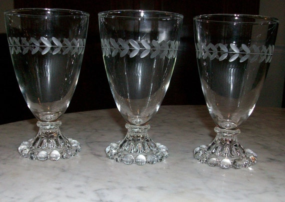 3 Anchor Hocking Etched Glasses Berwick Bubble Boopie