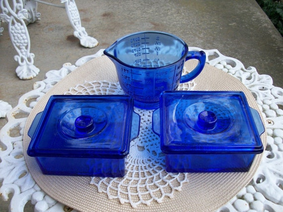 Cobalt Blue Instant Collection Storage Measuring Cup Refrigerator Dishes