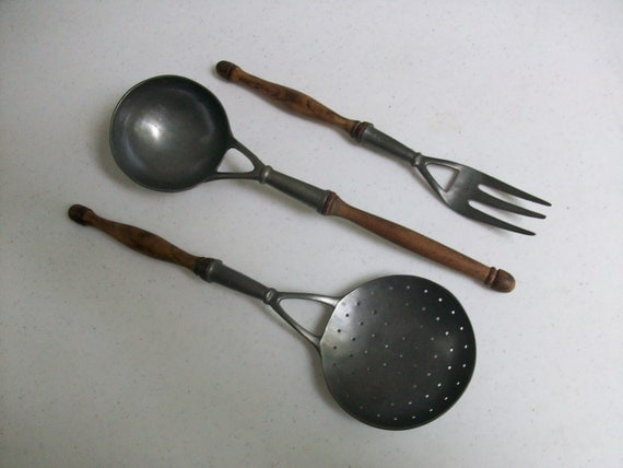 3 Pewter Wood Punch Soup Ladle Fork Slotted Spoon Instant Collection