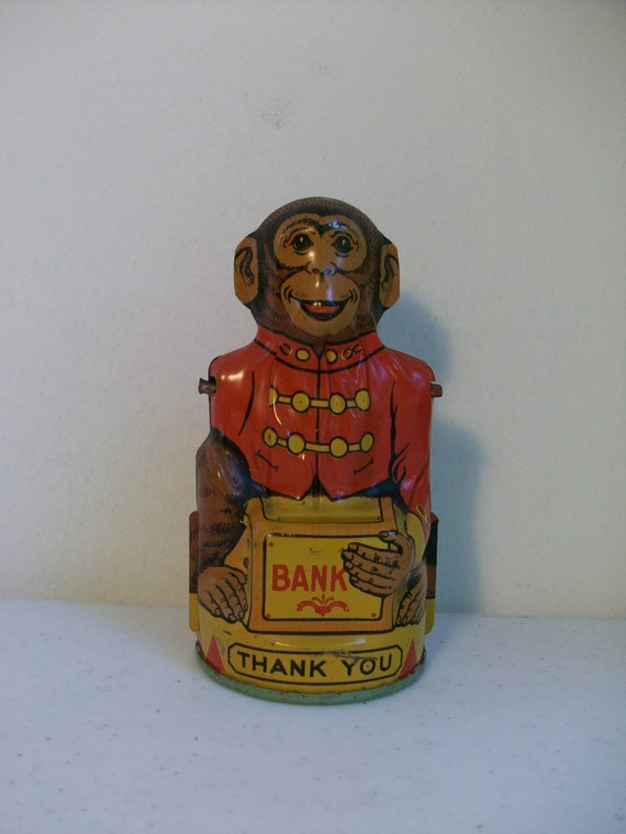 Bright Colorful Adorable Monkey Bank J Chein Red Brown Yellow Black Free US Shipping