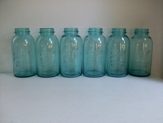 6 Old Blue Ball PERFECT Mason Jars Half Gallon Canning Wedding Centerpieces Instant Collection