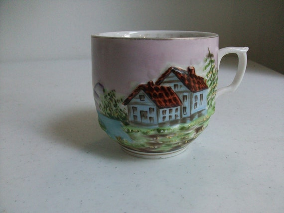 Cottage Scene Coffee Tea Mug Nautical Mountains Gold //