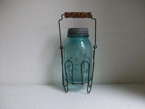 Old Blue Quart Jar Zinc Lid  Wire Holder Wooden Handle Rustic Wedding Farmhouse Cottage Canning