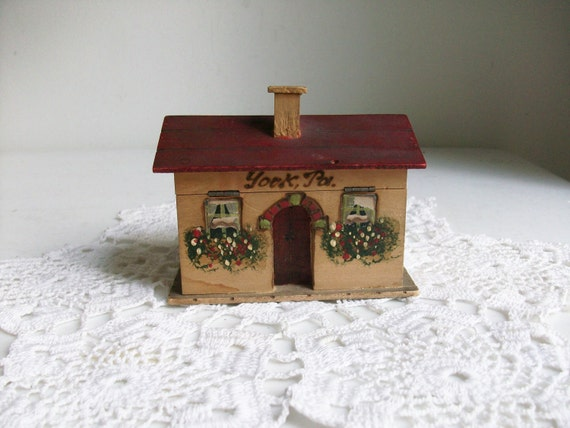 Wooden Cottage Hand Painted House Home Bank Floral
