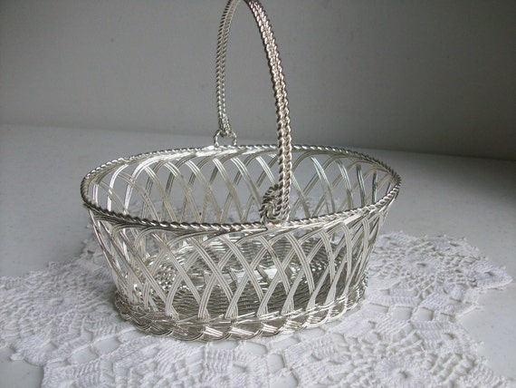 Oval Silver Wire Basket Openwork Bail Handle //