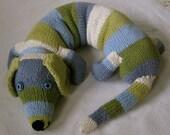Special Order: Big, Stuffed, Striped, Cuddly Dog Handmade Knit Organic Cotton Yarn