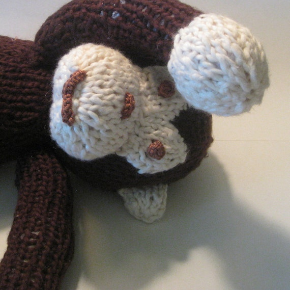 Monkey Stuffed Brown Cuddly Handmade Knit Organic Cotton Yarn