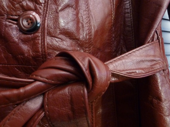 Snazzy Vintage 1970s Burgundy Brown Leather Belted Coat w/Stitching Details S M