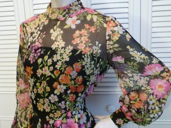 Vintage 1970s Designer Alfred Bosand Black SILK Chiffon Flower Garden Maxi Dress L