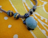 Carved Stone Turtle African Beaded Hemp Necklace