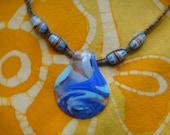Blue Crush African Beaded Hemp Necklace