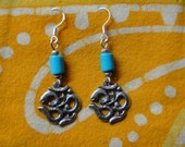 Ohm, Om, Aum Charm Turquoise Bead Earrings