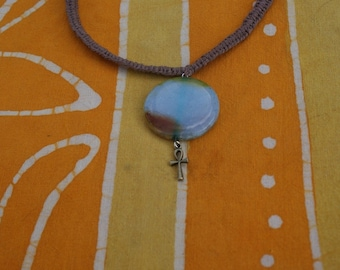 Sale Blue Agate Ankh Charm Hemp Necklace