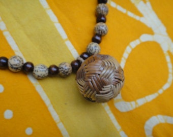 Southeast Asian Woven Takraw Prayer Bead Necklace on SALE
