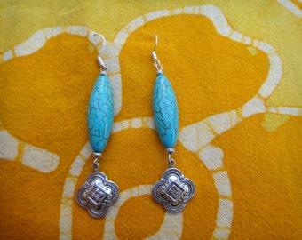 Turquoise Moroccan Charm Earrings Tribal Boho Jewelry