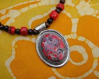 Red Stone Pendant and Coral Prayer Bead Necklace SALE Zen Asian Jewelry