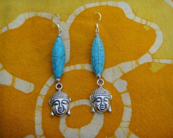 Turquoise Buddha Head Earrings