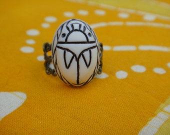 White Scarab Ring
