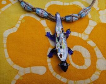 African Print Glass Lizard Hemp Necklace
