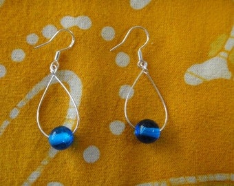 Blue Glass Bead Teardrop Earrings Minimalist Jewelry