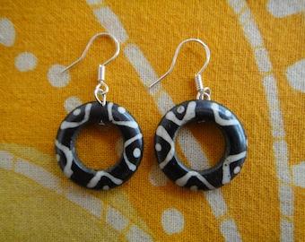 African Batik Bone Disc Earrings Minimalist Geometric Jewelry
