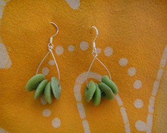 Lime Green Recycled Glass African Bead Teardrop Earrings